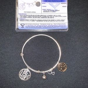Jewelry - Sterling silver adjustable bracelet with diamonds